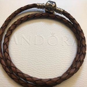 Pandora Authentic brown leather braided bracelet